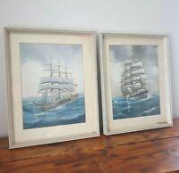 Original Art Paintings Clipper Sailing Ship Calm Stormy Seas Watercolour Vintage