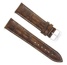 22MM LEATHER WATCH BAND STRAP FOR BULOVA 96A108 WATCH LIGHT BROWN  WHITE STITCH