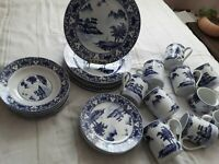 A Gorgeous Rare Find Vintage Canton Blue Dinnerware Set -34 Pieces Service for 8