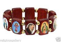 Saint Bead Bracelet, Wood Stretch Elastic Religious Catholic Jesus Mary Icon New