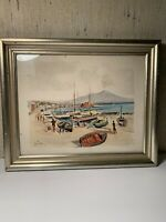 Andrea Curt Watercolor. Napoli Italy 1952 Seascape With Figures