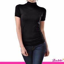 Seamless Short Sleeve Mock Neck Turtleneck Shirt XS-L