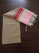 Rainbow Turkish Cotton Large Towel - Beach Bath Peshtemal Towel -  Light Brown