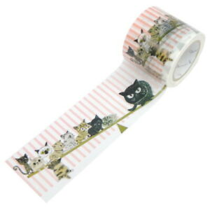 Japanese SHINZI KATOH Cats Seesaw Craft Washi Tape Paper Tape W4.2cmL10m