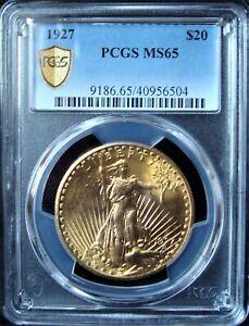 1927 $20 Gold Saint-Gaudens Double Eagle - PCGS MS 65 - Gold Shield