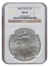 2002 MS69 1oz American Silver Eagle Brown Label NGC