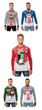 Mens Xmas 3D Novelty Knitted Christmas Jumper Cardigan Sweater