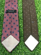 LOT OF 2 CHRISTIAN DIOR Men's Neck Ties Vintage Brown Dior/Red Medallion Print