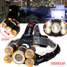 Zoomable Headlamp 50000LM 5-XM-L T6 LED Flashlight 18650 Camping Headlight Torch