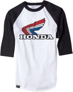Factory Effex Men's Honda T Shirt 3/4 Sleeve Vintage Baseball Shirt White Black