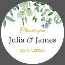 PERSONALISED GLOSS FLORAL WEDDING FAVOUR LABELS, CELEBRATION THANK YOU STICKERS