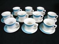Restaurant Ware Coffee Mugs & Saucers Set of 10 Blue/White Jackson China