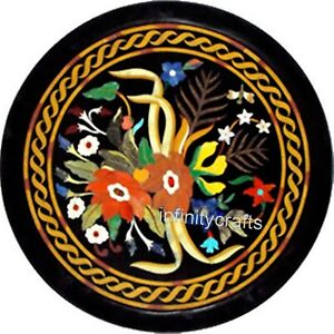 24 Inch Black Marble Coffee Table Top Floral design Inlaid Center Table for Home