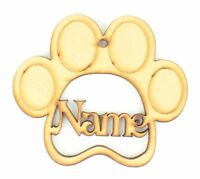 Personalised Pet Paw Shape Bauble Wooden MDF Christmas Tree Decoration Gift