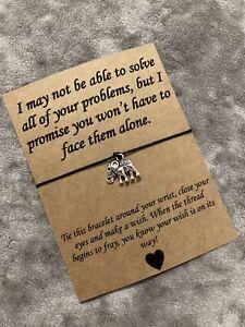 💕 Elephant Never Alone Quote Friendship Wish Bracelet, Gift Charm Present 💕