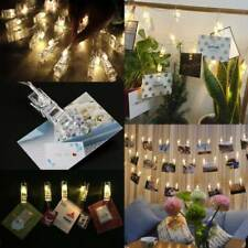 30-40 LED Photo Clip Peg String Lights Battery Operated Home Party Decor 5.5m 30 LED 4m Warm White Light