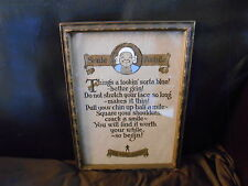 """Vintage 1930's Morals Print with Character Original Frame """"Smile Awhile"""""""