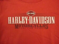 "Harley-Davidson Motorcycles Denton County Texas ""Feel the Power"" Red T shirt L"