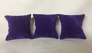 3 x Spring Purple Suede Watch Bracelet Cushion Jewellery Display *Made in the UK