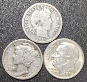 U.S. Coin Small Silver Lot Barber Mercury Roosevelt Silver Dimes