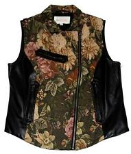 Vince Camuto Pleather & Tapestry Roses Front Side Zipper 3 Pocket Vest Wms M EXC