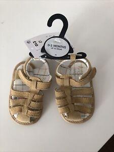 Baby Sandals Suede Beige 0-3 Months M&S New