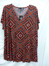 NEW CSC STUDIO TOP AND SHORTS RED BLACK ABSTRACT KNIT PRINT 1X V NECK