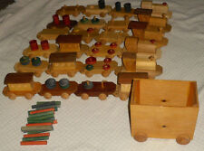 """Wooden 34"""" Toy Train Play Set  Wood Amish 126in long"""