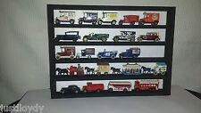 Model car wall display rack-matt black wood and white felt backing