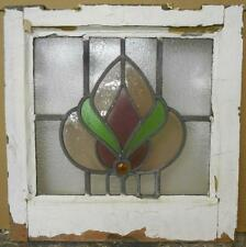 "OLD ENGLISH LEADED STAINED GLASS WINDOW Beautiful Floral 17.5"" x 17.5"""