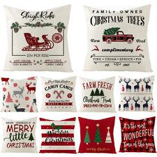 """18"""" Christmas Cushion Cover Cotton Linen Pillow Case Home Sofa Throw Decor Xmas"""