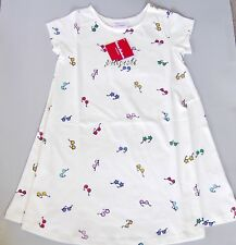 NWT Hanna Andersson 100% Cotton Play All Day Dress, White with Glass, retail $36