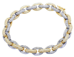 "Men's 14K Two Tone Real Diamond Rolo Link Bracelet 18 1/5 CT 9mm 8.5"""