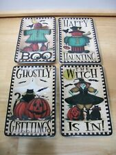 New ListingMww Market Halloween Plates Witch Haunting Boo Ghostly~Lot of 4~with Box~Euc
