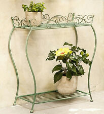 Metallregal Regal Eisen Blumenbank  Shabby Provence Vintage grün mint 58cm