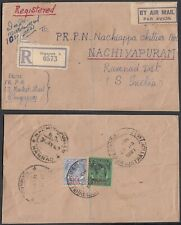 Malaysia-Singapore 1947-Registered airmail cover to S. India .(7G-38189) MV-4429