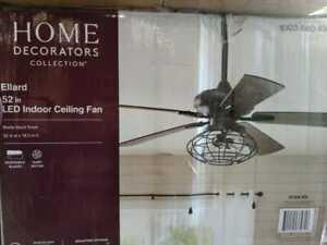 Ellard 52 in. LED Indoor Matte Black Ceiling Fan with Light by Home Decorators C