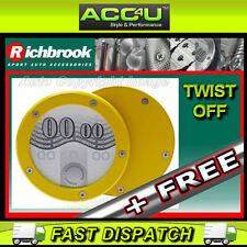 Richbrook Yellow Alloy Twist Off Back Round Car Tax Disc Permit Holder + Free