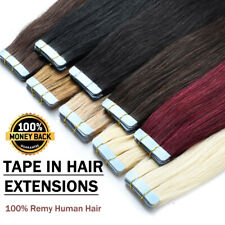 8A Full Head Invisible Tape In 100% Real Remy Human Hair Extensions Skin Weft US