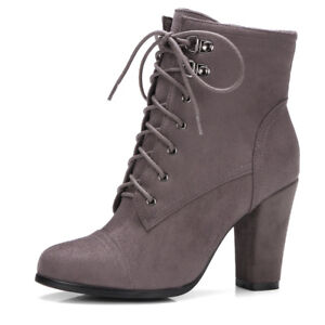 Women Winter Ankle Boots Combat Suede Lace Up Chunky Heel Bootie Shoes US 6 Gray