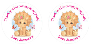 Personalised Round Pink dinosaur cute  Birthday Party Stickers Sweet Cones Bags