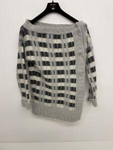 Womens Diesel Wool Button Up Wool Jumper Check Grey Black White Size Medium A75