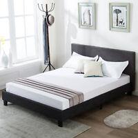 Full Size Platform Bed Frame Upholstered Gray Linen Headboard with Wood Slats
