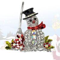zu weihnachten süß schmuck schneemann - brosche crystal anstecknadel rosa