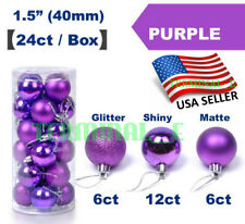 24 CT Shatterproof Christmas Ornament Balls Tree Hanging Wedding Decor PURPLE