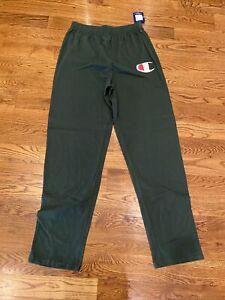 New Mens Champion Sweatpants Size L (tall) Dark Green 36 In Inseam. Open Bottom