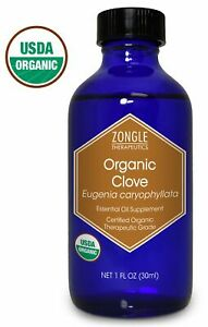 Zongle USDA Certified Organic Clove Essential Oil, Safe To Ingest, Eugenia Caryo