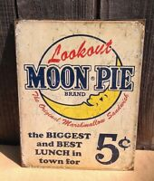 MOON PIE MARSHMALLOW SANDWICH Sign Tin Vintage Garage Bar Decor Old Rustic