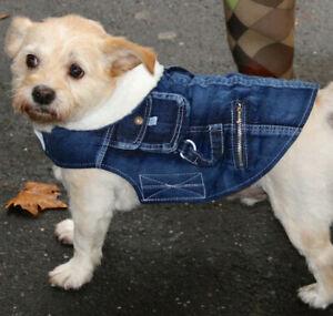 Pampet Denim dog jacket coat fleece lining, 20cm x small - 40cm xlarge dogs NEW