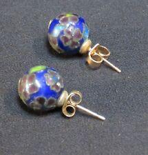 Stud Earrings, Floral Design Vintage Cloisonne Round Globe Shaped